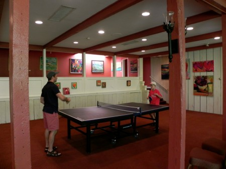 Playing ping-pong at Topnotch Resort and Spa