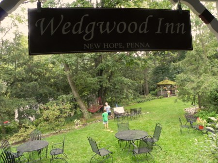 Relaxing in the yard at the Wedgwood Inn in New Hope, Pennsylvania