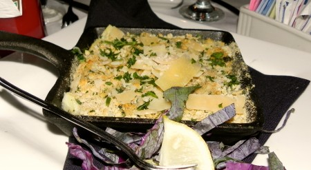 Oyster and artichoke gratin at Bill's Prime in Chincoteague