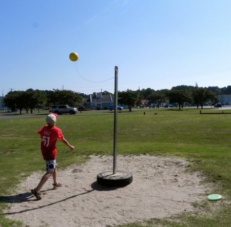 Tether ball is just one of the games at Woody's in Chincoteague