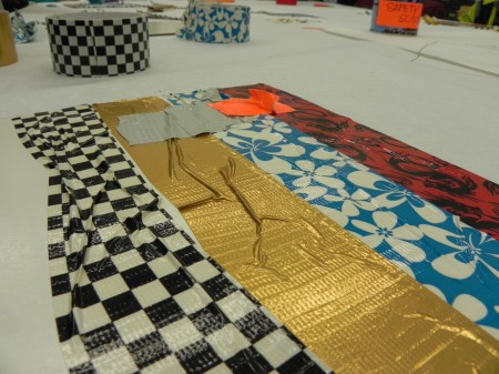 Art with duct tape is bumpy and tactile