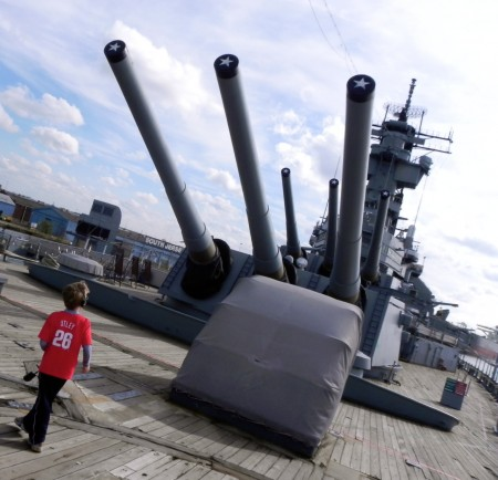On the deck of the Battleship New Jersey