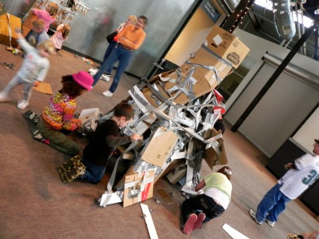 Duct tape and cardboard sculpture at the Delaware Center for the Contemporary Arts