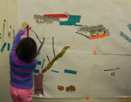 A duct tape mural is a great way to use up all the extra scraps