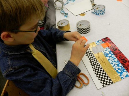 Painting with duct tape - Teddy is making a cave that a bat lives in
