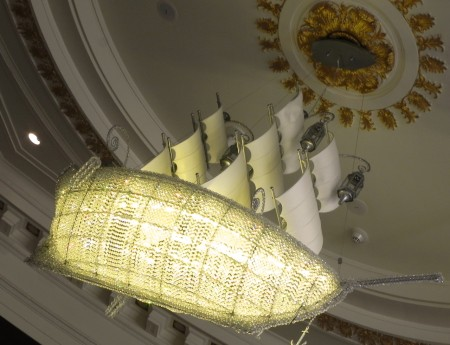 Love this boat shaped chandelier at the Hotel Monaco Philadelphia