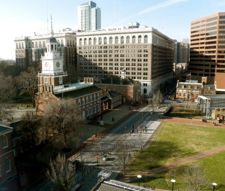 Independence Hall is steps away from the Hotel Monaco Philadelphia