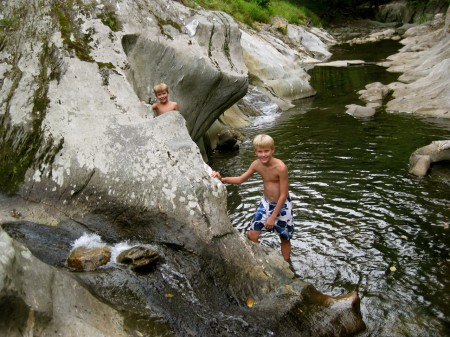 Playing in the river in Vermont