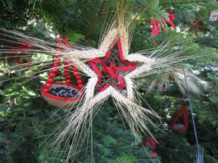 Close up of one of the handmade ornaments on the Longwood Garden Wildlife Tree