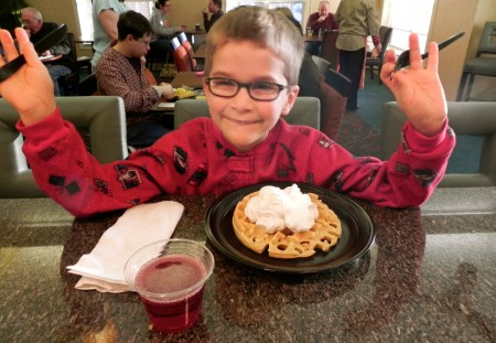 Teddy is very excited about his waffle at the Residence Inn Williamsburg