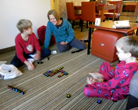 We had plenty of room to spread out and play games at the Residence Inn Williamsburg