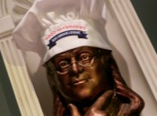 Ben Franklin is the aptly chosen mascot of Food for Thought Restaurant in Williamsburg, Virginia