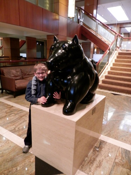 People have rubbed the tongue on this Botero dog for good luck - can you tell?