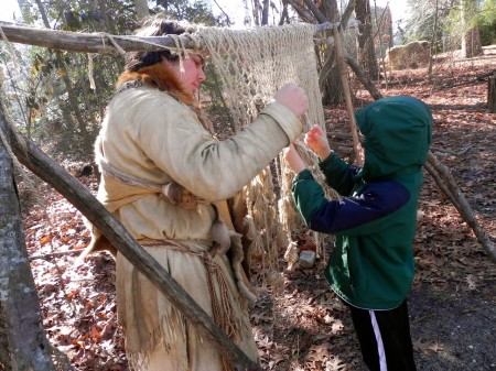 Teddy helped add knots to this Powhatan net