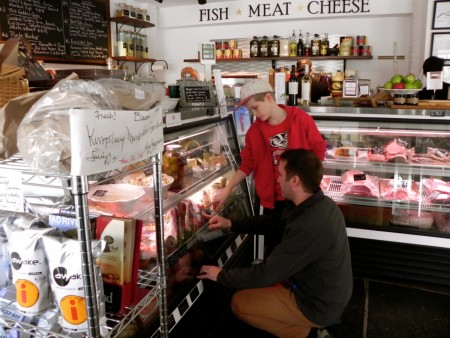 Choosing salami at the Bridge Street Butchery near Sugarbush, Vermont