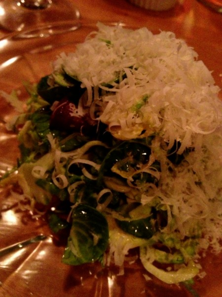 Brussel sprout salad (with a little cheese!) at Peasant