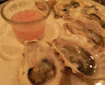 Northwest oysters at the Kimpton Pazzo Ristorante are juicy and delicious