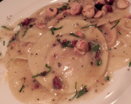 Love that the ravioli at the Kimpton Pazzo Ristorante comes topped with local Oregon hazelnuts