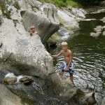 Swimming in the Mad River, Vermont