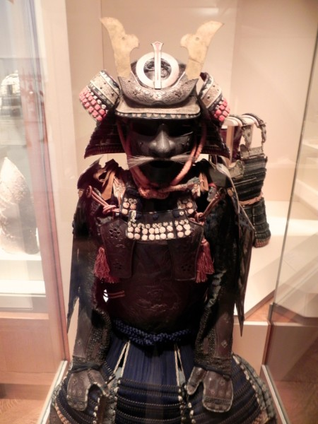 Japanese armor comes complete with mustaches and beards.