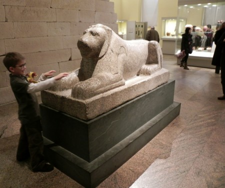 Not touching the lion at the Metropolitan Museum.