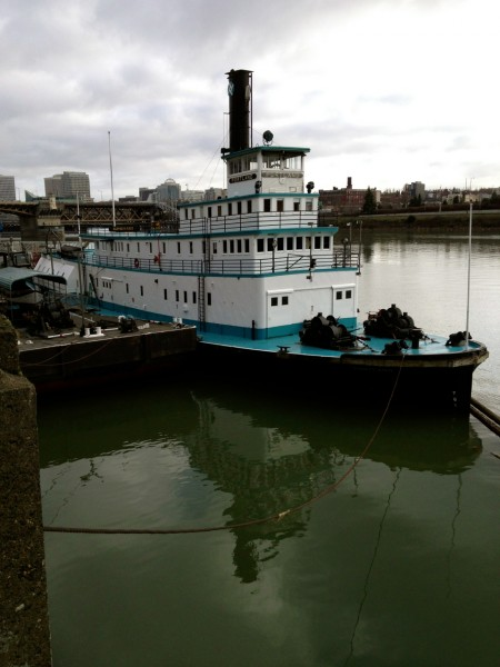The Oregon Maritime Museum is in a moored paddle steamboat on the Willamette River