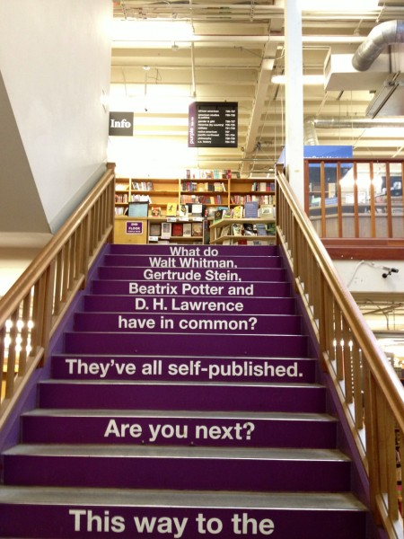 An inspirational staircase at Powell's