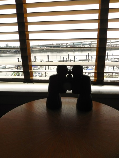 Binoculars come standard in the Kimpton RiverPlace suites
