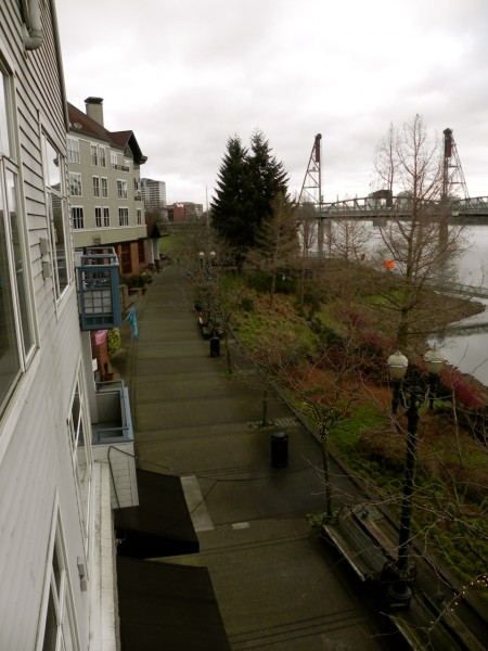 Coffee shops and restaurants line RiverPlace in Portland, Oregon