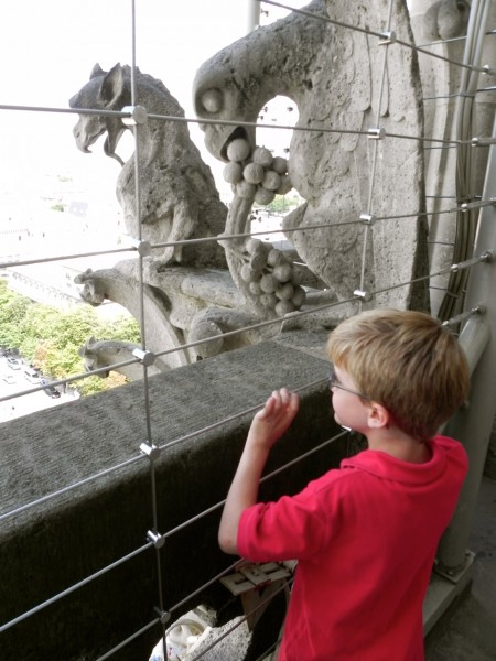 Teddy loved the gargoyle with the grapes at the top of Notre Dame in Paris