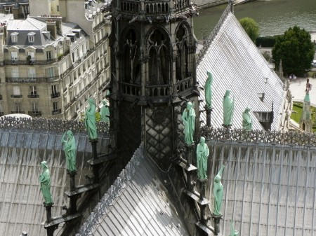 I love these green saints lining Notre Dame's spire in Paris