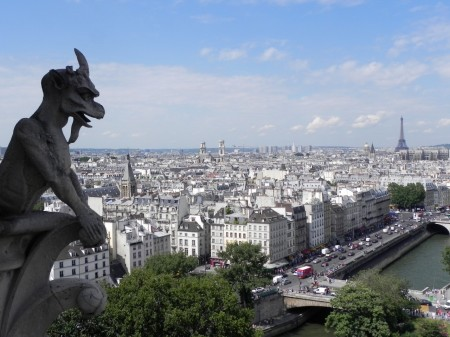 The Eiffel Tower looks even better with a gargoyle in the foreground