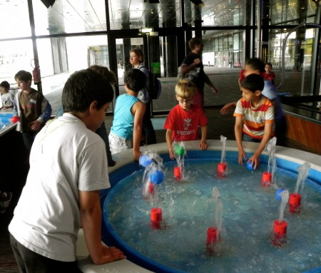 Checking out whether plastic balls will balance on water