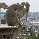 Gargoyles on the top of Notre Dame in Paris