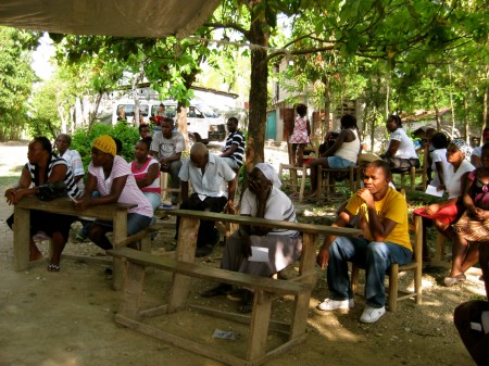 The community gathered in Niva, Haiti