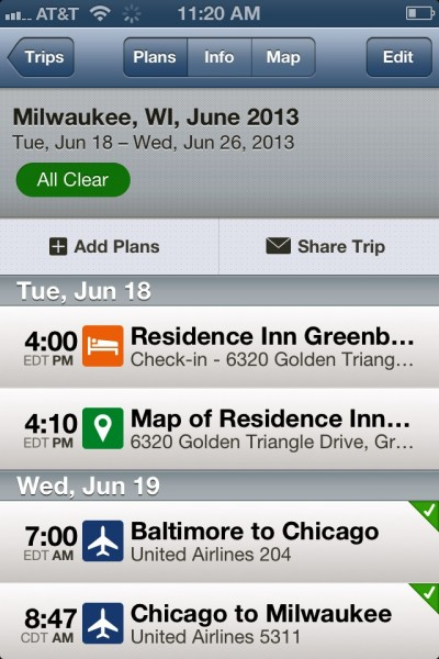 As you can see, we're heading to Wisconsin in June - and Tripit is helping me stay on top of our itinerary