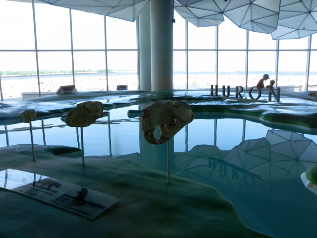 There is a huge scale model of all the Great Lakes at Discovery World in Milwaukee