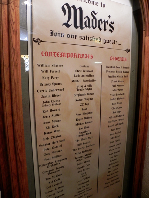 Just a partial list of celebrities who have eaten at Mader's Restaurant in Milwaukee