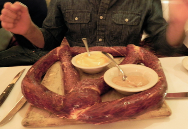 The pretzel at Mader's Restaurant in Milwuakee is served with mustard and cheese