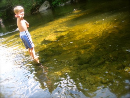 Hanging out in our favorite Vermont spot - the river.