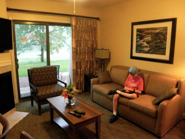 Relaxing in our Grand Geneva Holiday Inn Vacation Club condo