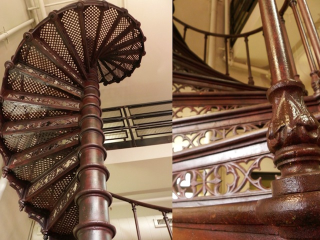 A sculptural staircase from the original Pabst Brewery has been left in place