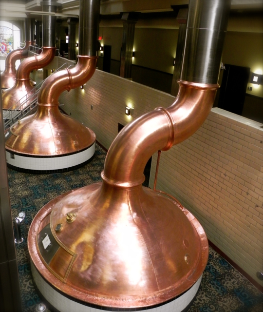 The original copper vats have been left in place at the Brewhouse Inn and Suites