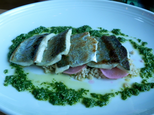 I loved the pink shaved radishes underneath the trout at Braise Restaurant