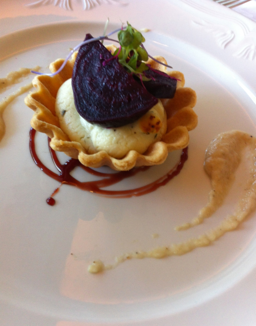 Goat cheese and beet tart made with local Vermont ingredients