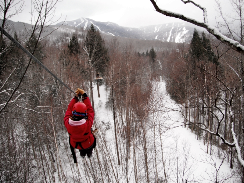 Riding the zipline in winter looks totally beautiful.
